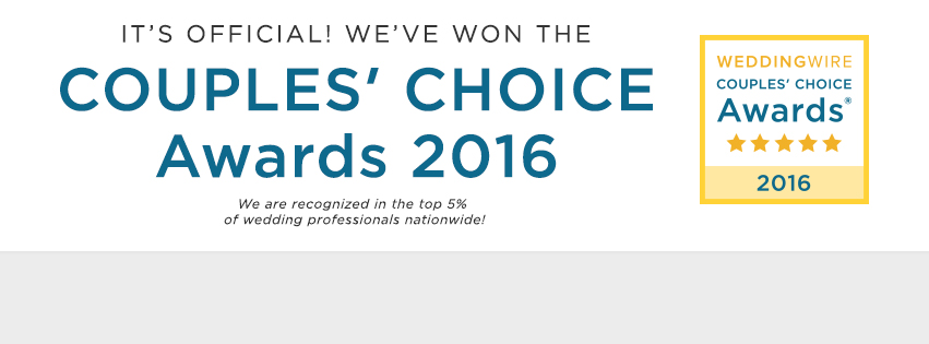 Winner of WeddingWire's 2016 Couples' Choice Awards