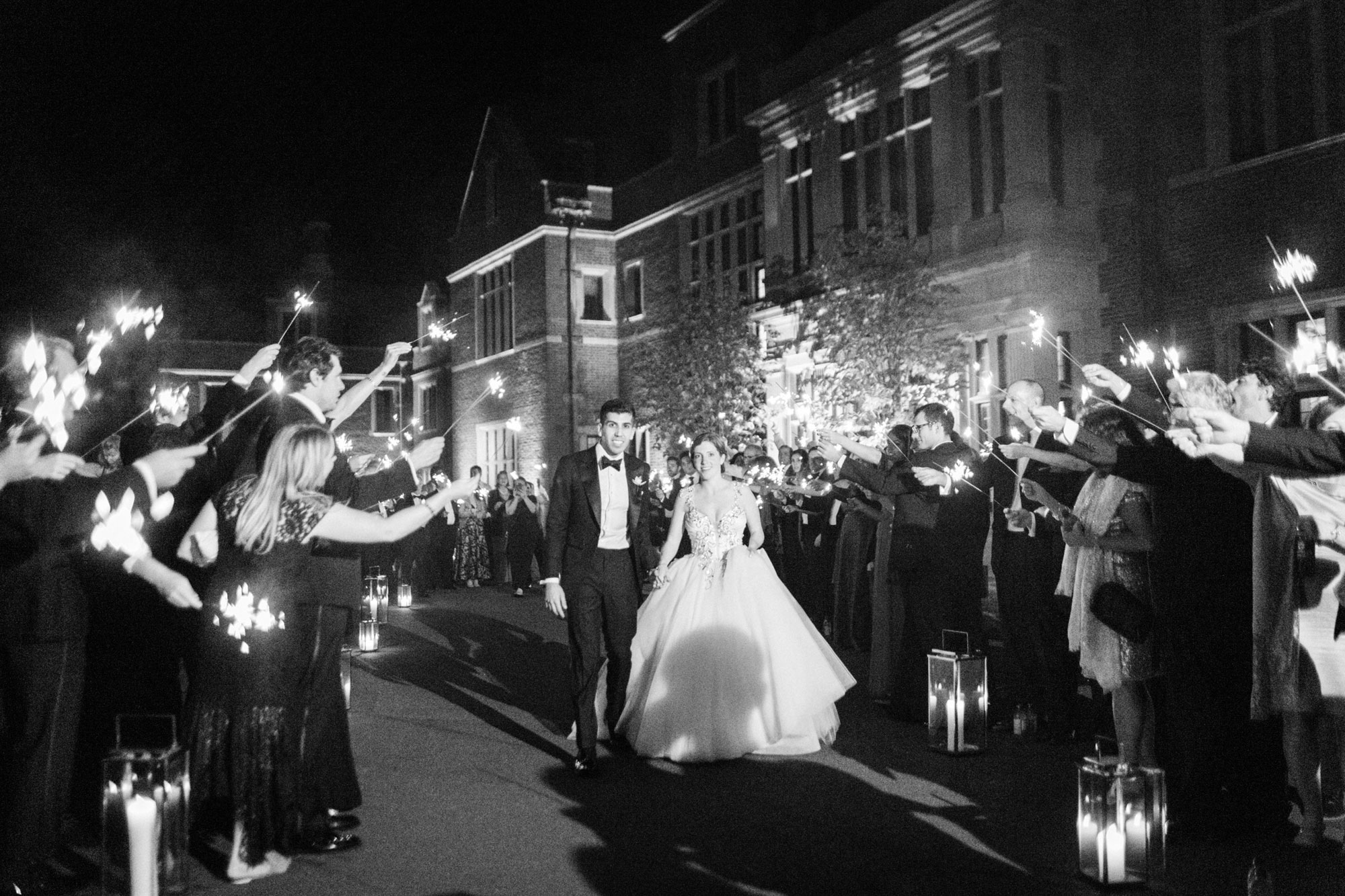 Sparkler exit at the Mansion at Natirar by NJ Wedding Planner